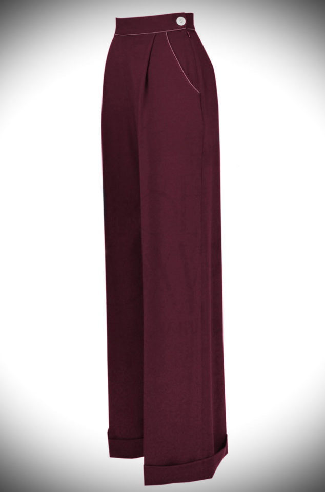 The 40s Wide Leg Trousers are an authentic rework of an original 1940s trouser pattern adapted for the modern figure and in modern fabric.