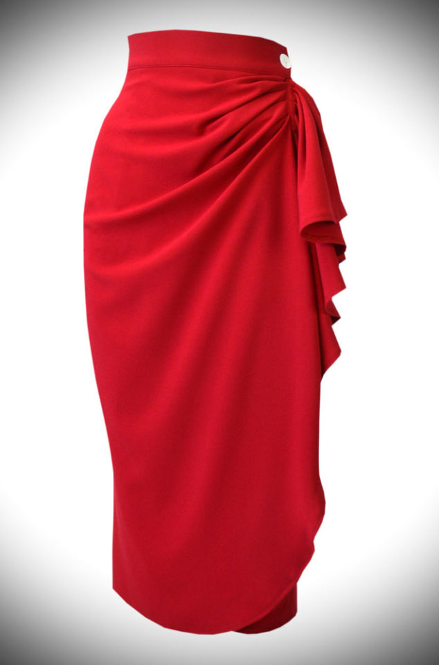 The 40s Waterfall Skirt features a faux wrap front and asymmetrical waterfall drop. Bright red and sassy for pinup girls and lovers of vintage style.