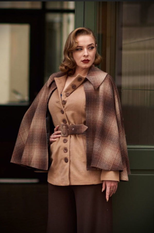 The Beata Car Coat is a stunning coat with a removable tartan cape by Miss Candyfloss. This timeless coat is vintage style at it's best.