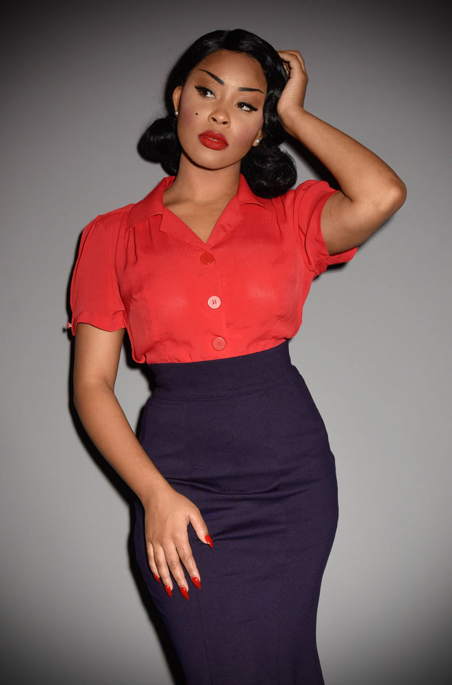 40's inspired Red Grace blouse at Deadly is the Female. Chic, casual and timeless fashion for pin up girls and vintage lovers.