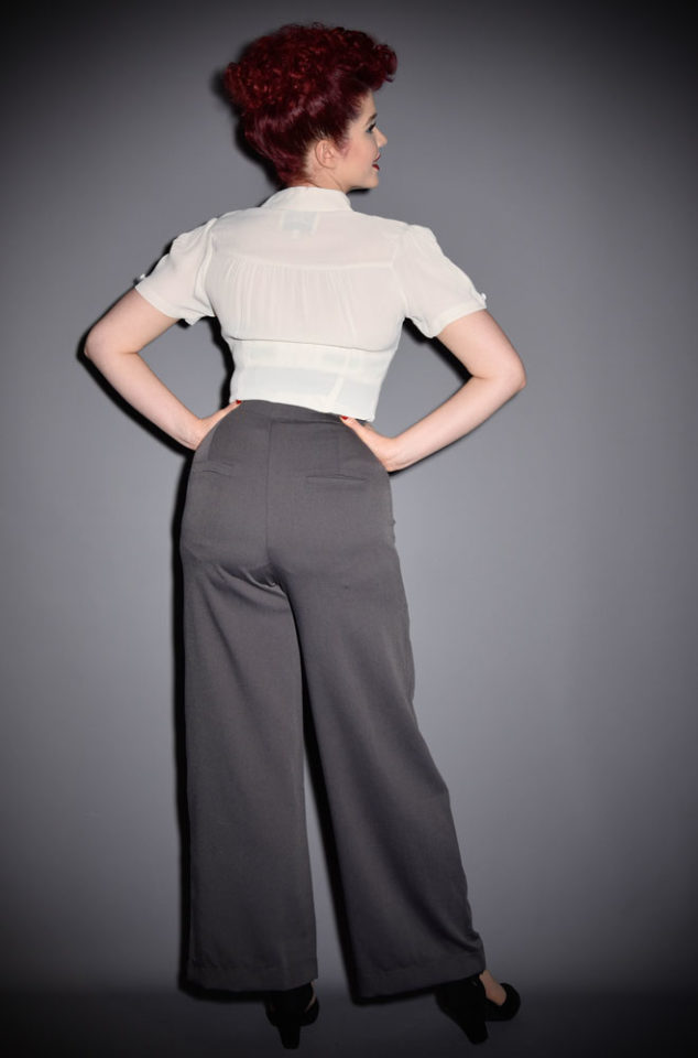 The Ginger Trousers are authentic High Waisted Wide Leg 40's style trousers by Unique Vintage at official UK stockists, DeadlyistheFemale.com