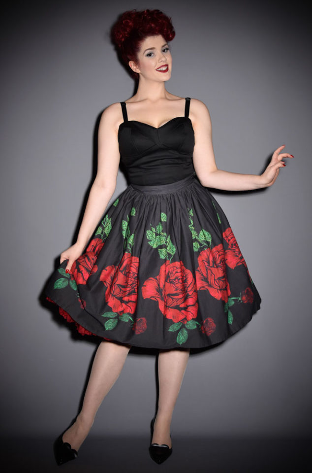 The 50's Red Rose Skirt is a chic black swing skirt, covered in striking over sized roses. The fabulous mid-century silhouette is perfect for pinup girls.