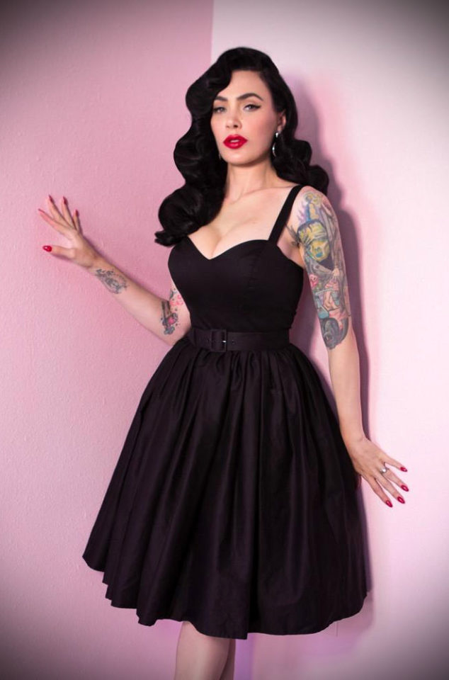 The Black Sweetheart dress is a bombshell of a swing dress! Deadly is the Female are official UK stockists of Vixen by Micheline Pitt.