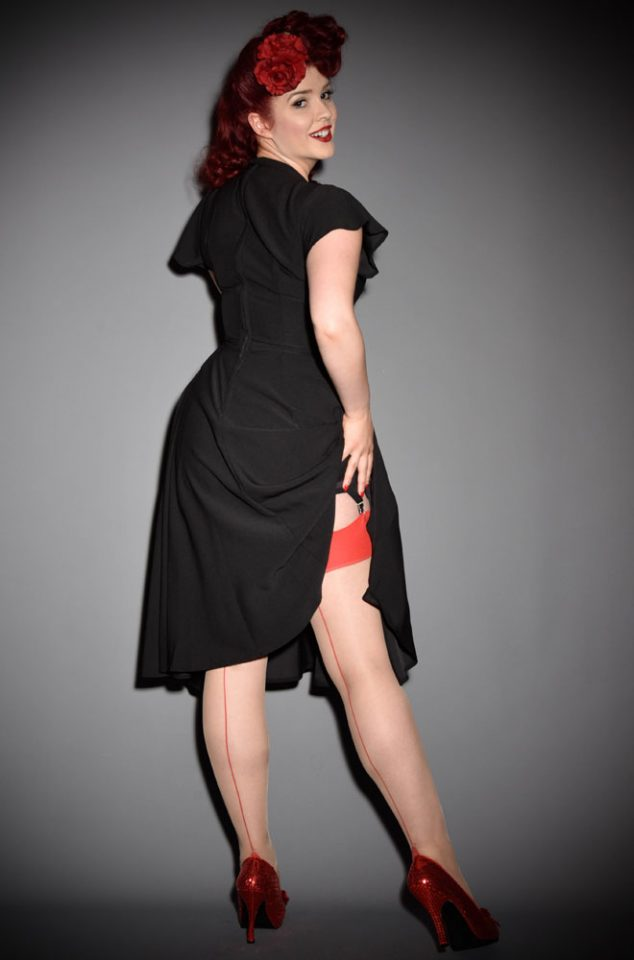 The Red Glamour Seamed Stockings are elegant champagne nylons with a lipstick red seam. They add a little bit of glamour to any outfit.