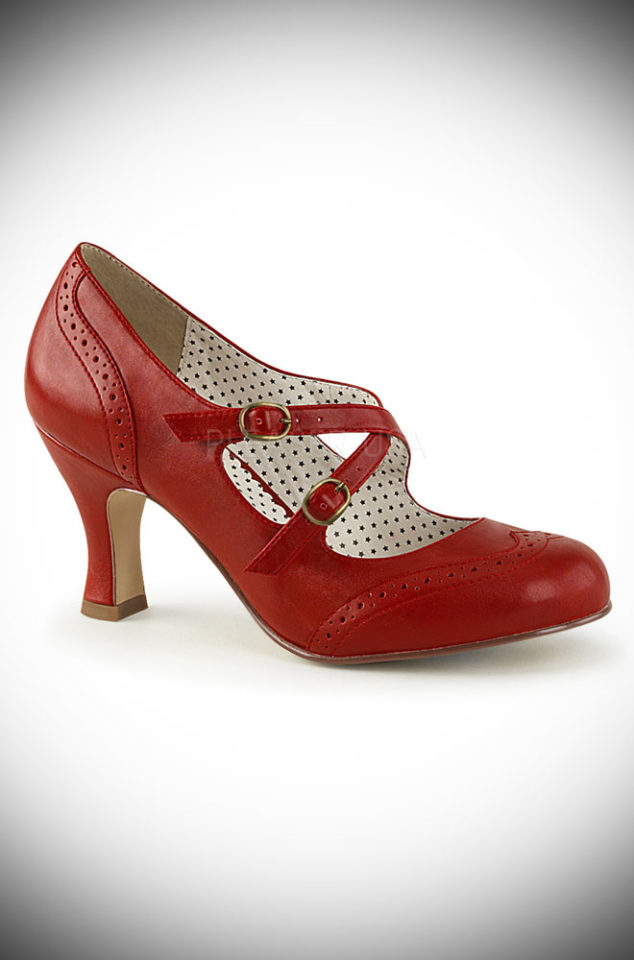 These Red Flapper Shoes by Pinup Couture are classic and chic. We adore the vintage details, kitten heels and brogue detailing.
