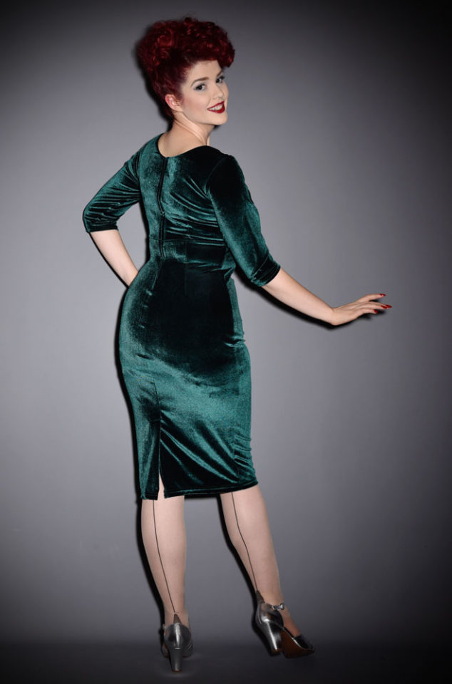 We are just dotty about this Emerald Velvet Diva Dress! This retro wiggle dress in stretch velvet is neat but sassy. Available in UK sizes 8/10 to 18/20.
