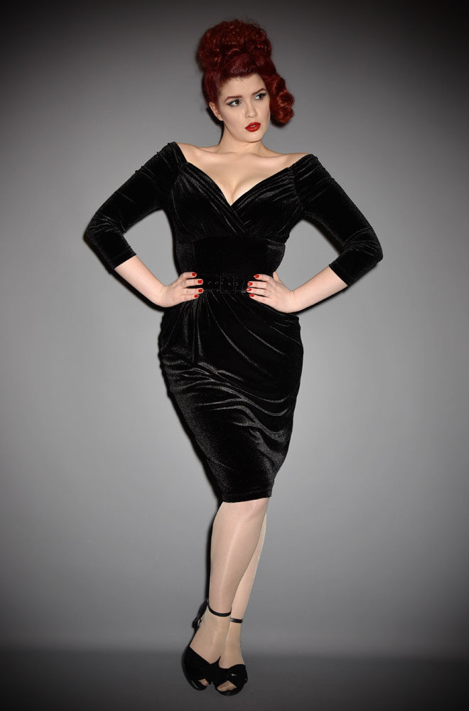 "The Black Velvet Starlet Dress is the ultimate ""Old Hollywood"" cocktail dress. Deadly is the Female are official UK stockists of Vixen by Micheline Pitt."