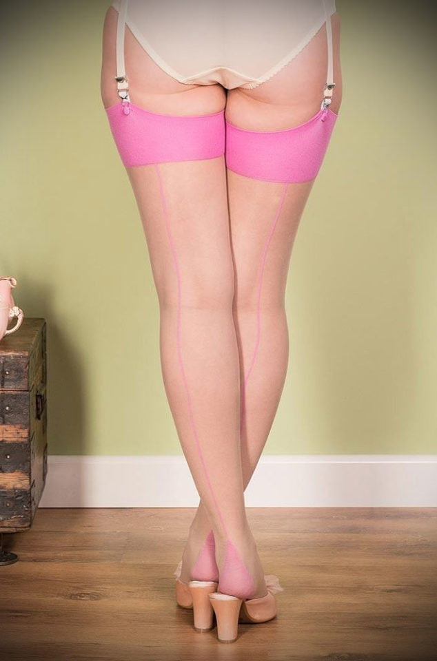 The Pink Glamour Seamed Stockings are sheer champagne nylons with a sky blue seam. They add a little bit of glamour to any outfit.