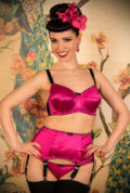 Introducing the stunningPink Satine Suspender Belt. The perfect way to add a splash of colour to a classic black lingerie set! What Katie Did at Deadly!