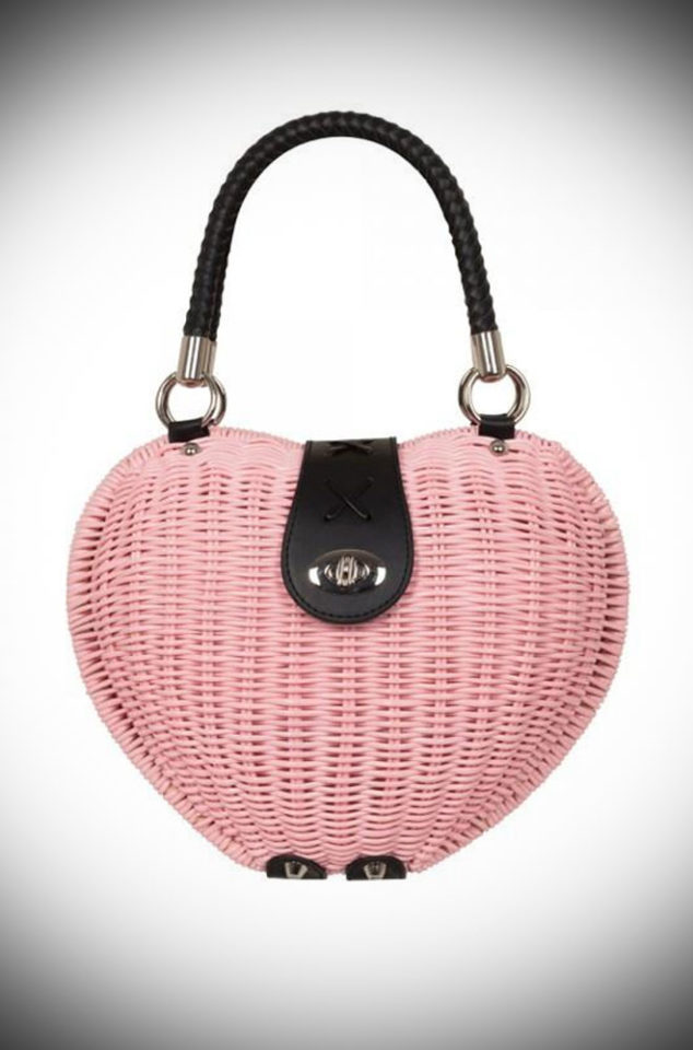Introducing the Pink Wicker Monroe Bag - a charmingly elegant novelty bag, perfect for spring. This sweet heart-shaped bag is the summer accessory you just can't do without. The wicker style design is vintage inspired and we adore the pastel hue. Available now at DeadlyistheFemale.com