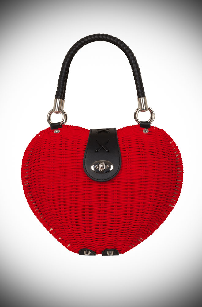 Introducing the Red Wicker Monroe Bag - a charmingly elegant novelty bag, perfect for spring. This sweet heart-shaped bag is the summer accessory you just can't do without. The wicker style design is vintage inspired and we adore the pastel hue. Available now at DeadlyistheFemale.com