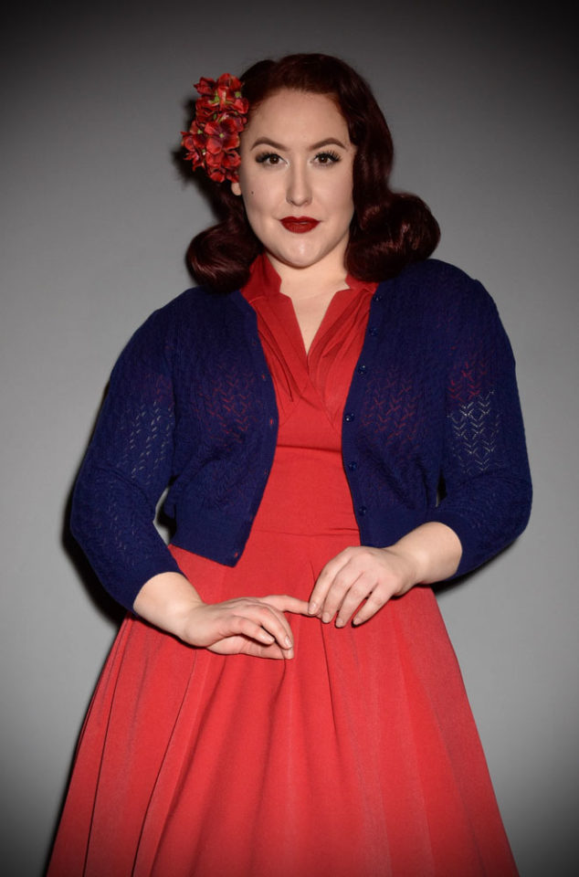 Brand new for Spring/Summer! The stunningDelightful Daytime Cardigan by Emmy Design is a beautiful wardrobe essential. The classic shade of midnight blue is fresh and flattering to all skin tones. Deadly is the Female are UK Stockists of Emmy Design.