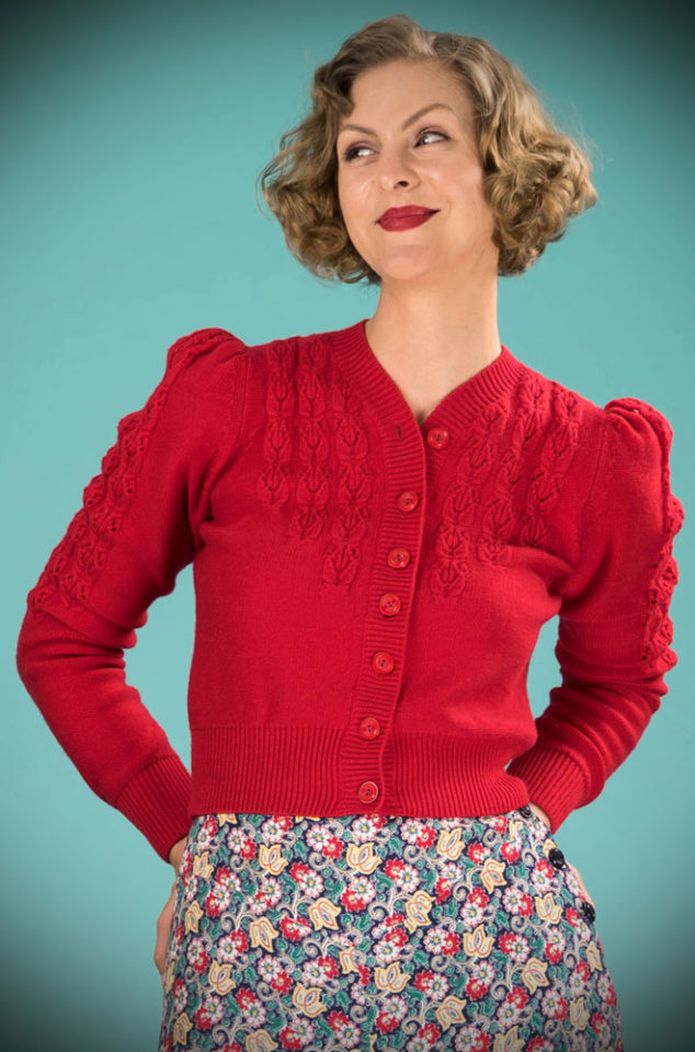 Brand new for Spring/Summer! The stunning Lipstick Red Peggy Sue Cardigan by Emmy Design is a beautiful wardrobe essential. The striking mustard colour is warm and flattering to all skin tones. Deadly is the Female are UK Stockists of Emmy Design.