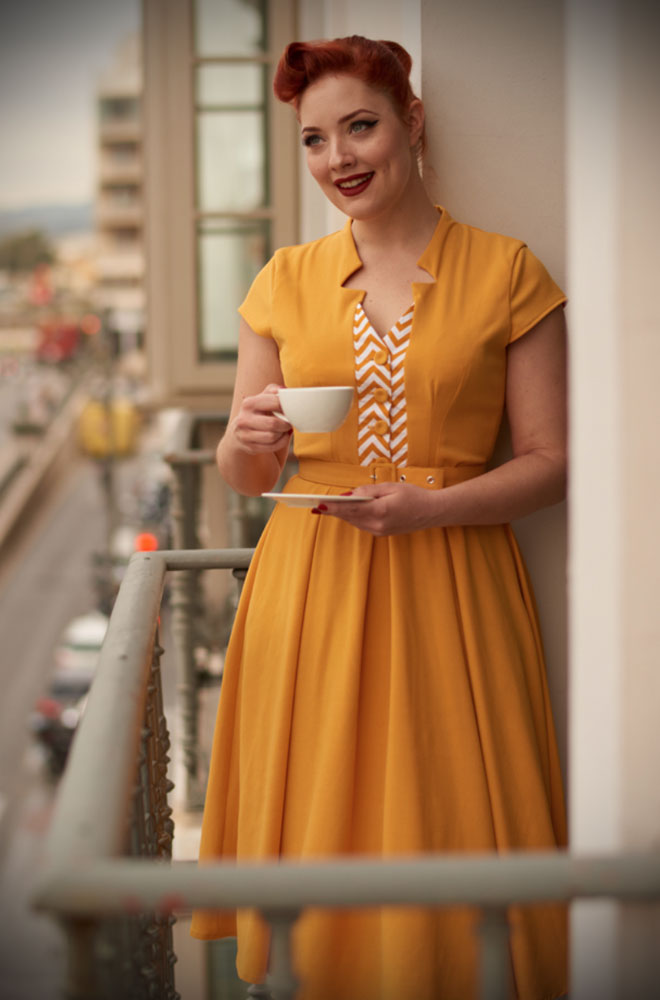 An elegant sunshine yellow vintage style swing dress, the Allegra Dress is the perfect way to add some old fashioned glamour to your daytime wardrobe. By Miss Candyfloss at UK stockists, Deadly is the Female.