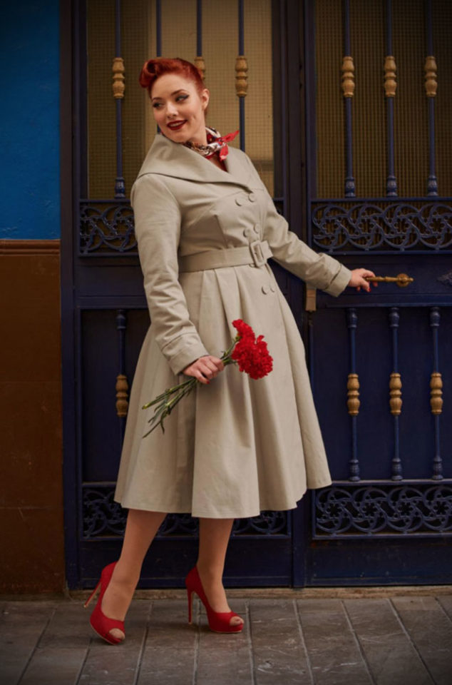 The Cassandra Swing Coat is a stunning 1950's trench coat transformed into a water resistant spring coat with satin lining by Miss Candyfloss. This chic style coat is vintage style at it's best. The sand colour is a classic and goes with just about everything! Available now at DeadlyistheFemale.com