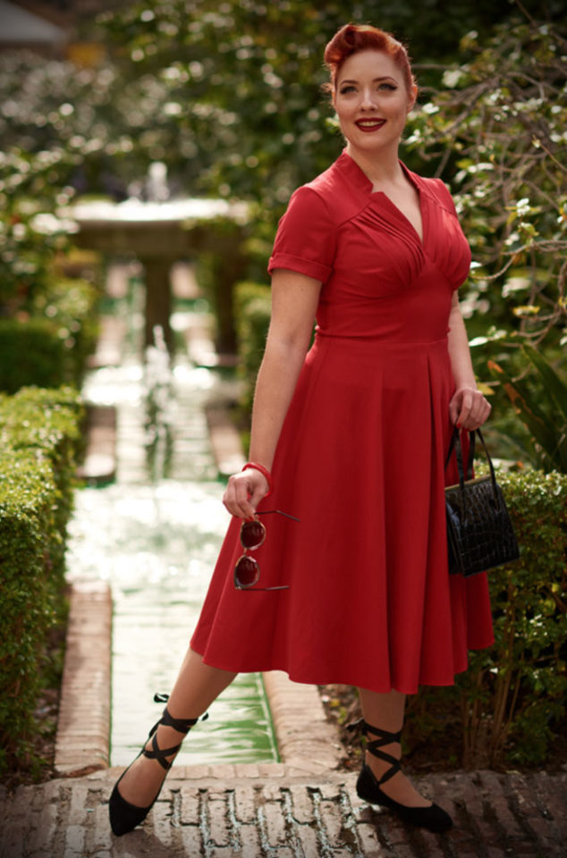 An elegant lipstick redvintage style swing dress, theRed Elena Dress is the perfect way to add some vintage glamour to your daytime wardrobe. By Miss Candyfloss at UK stockists, Deadly is the Female.