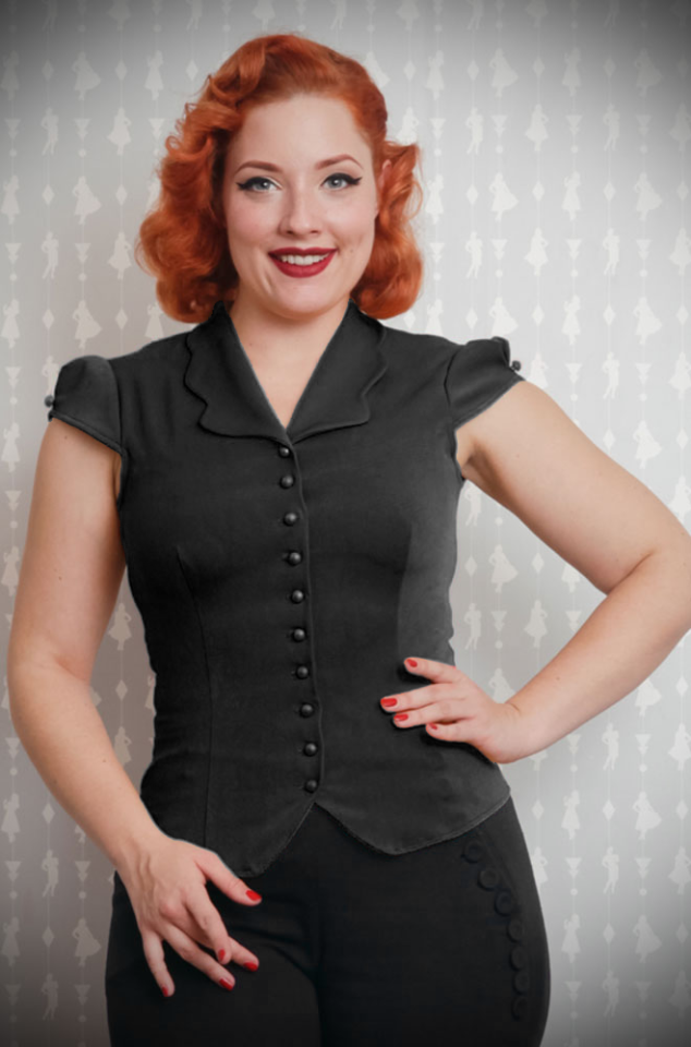 The Black Isidora Blouse is a sweet and effortless blouse with a scallop collar.www.DeadlyistheFemale.com are proud UK stockists of Miss Candyfloss.