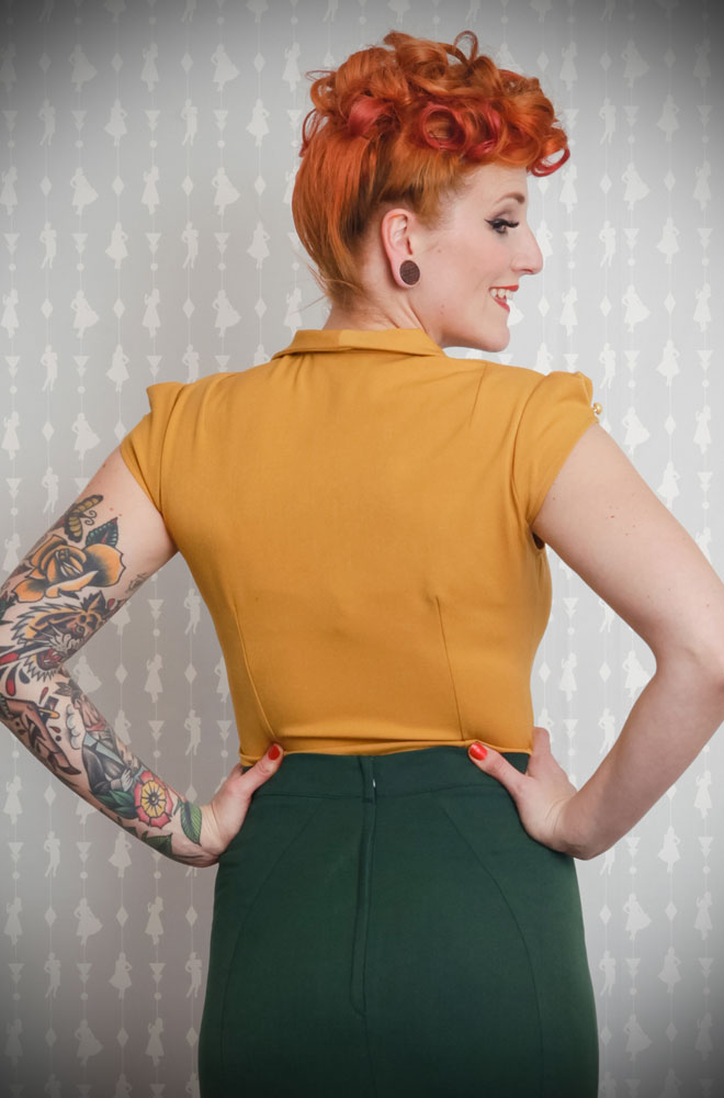 The Mustard Isidora Blouse is a sweet and effortless blouse with a scallop collar. DeadlyistheFemale.com are proud UK stockists of Miss Candyfloss.