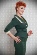 The Ivanna 1940s Blazer is a stunning vintage inspired jacket. This timeless blazer will become an instant wardrobe essential.DeadlyistheFemale.com are proud UK stockists of Miss Candyfloss