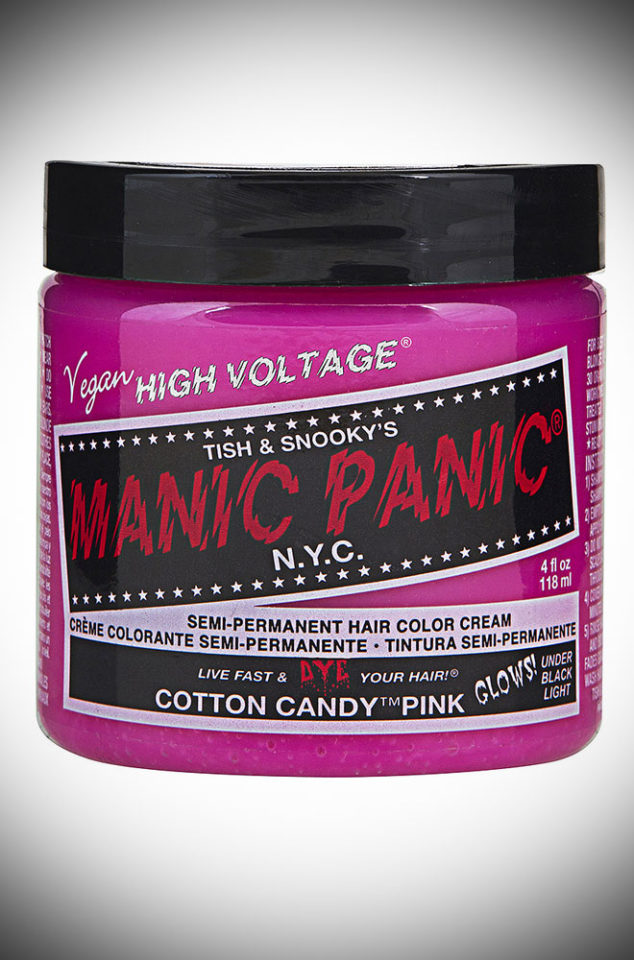 Cotton Candy Manic Panic Semi Permanent Hair Colour is a deliciously sweet shade of pink. Deadly is the Female are UK Stockists of Manic Panic Hair Colour.