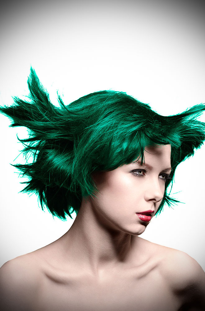 Enchanted Forest Manic Panic Semi Permanent Hair Colour is a deep, pine green. Deadly is the Female are UK Stockists of Manic Panic Hair Colour.