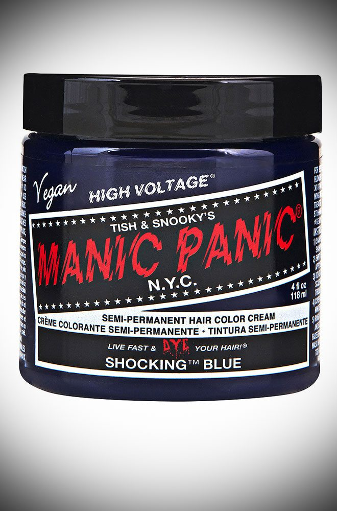 Shocking Blue Manic Panic Semi Permanent Hair Colour is a vibrant, cool blue. Deadly is the Female are UK Stockists of Manic Panic Hair Colour.