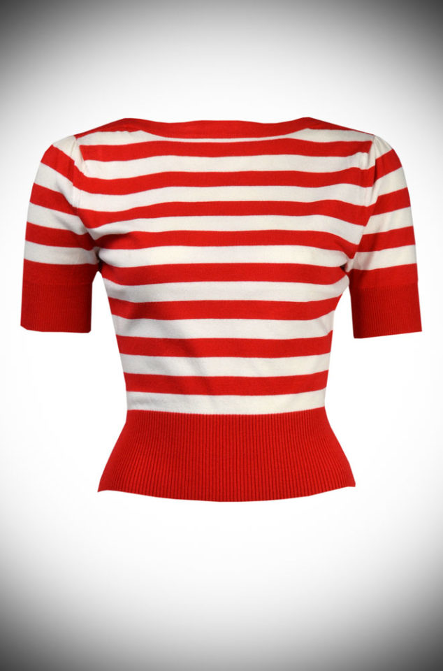 The Retro Bateau Top is a 50s nautical inspired knitted top. It is an effortless way to add some Audrey Hepburn style to your everyday wardrobe. Perfect for pinups at DeadlyistheFemale.com