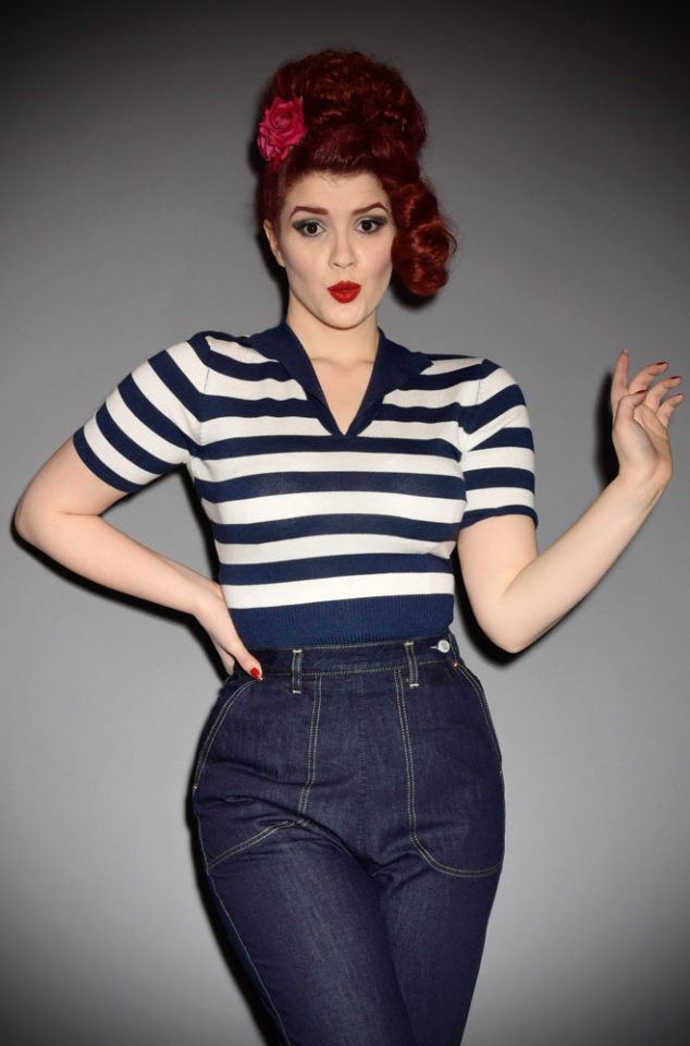 The Retro Sweater Top is a 50s nautical inspired knitted top. It is an effortless way to add some vintage style to your everyday wardrobe. Perfect for pinups at DeadlyistheFemale.com