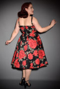 The Sandi Dress in Mon Cheri by Retrospec'd at UK stockists, Deadly is the Female. This red floral 50's style swing dress is a timeless classic. It is is oh-so romantic but sassy too. WE just adore the luscious red roses on the classic black background!