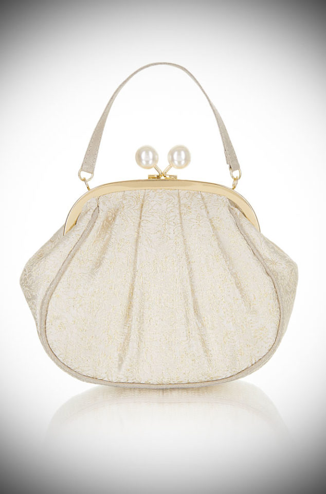 Introducing the stunning Arco Evening Bag. A beautiful cream and gold handbag which perfectly pairs with our Maria Shoes. Available now at DeadlyistheFemale.com