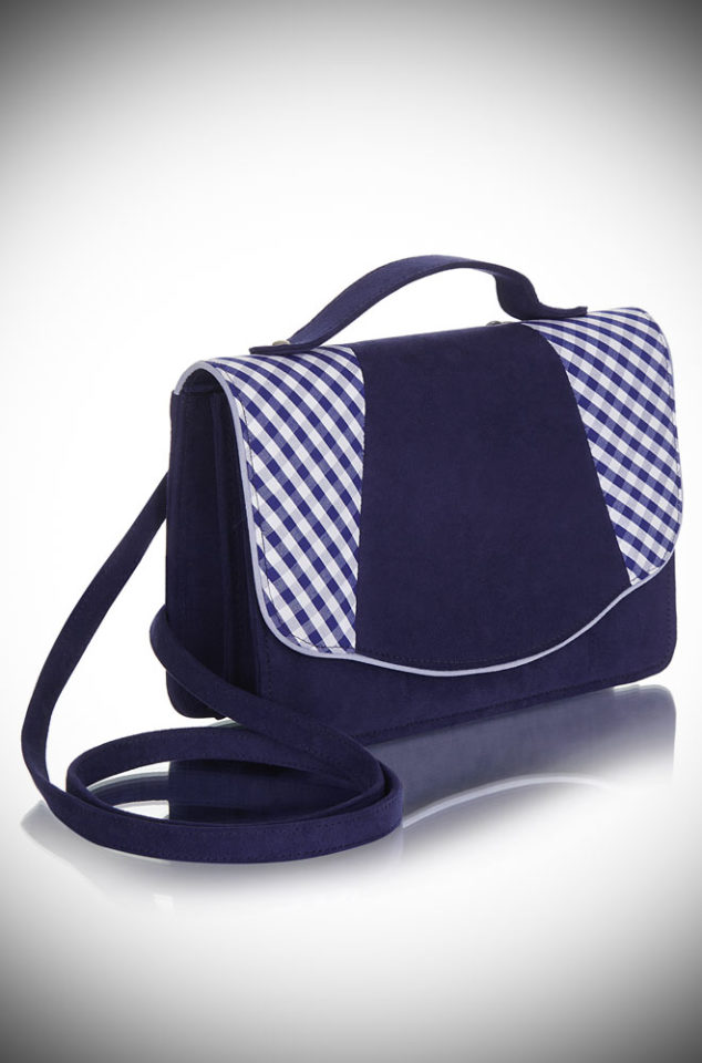 Introducing the Belfast bag. A striking navy blue and gingham handbag with lots of vintage style charm. Available now at DeadlyistheFemale.com
