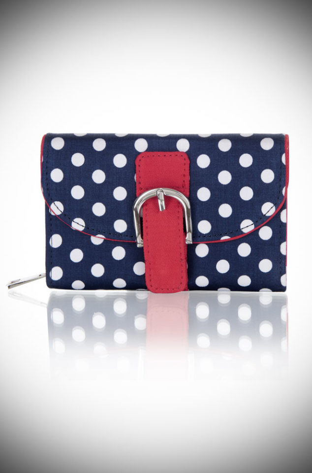 The Navy Spots Garda Purse is a polka dotted, vintage inspired purse. This cheerful wallet is sure to make you smile! Available now at DeadlyistheFemale.com