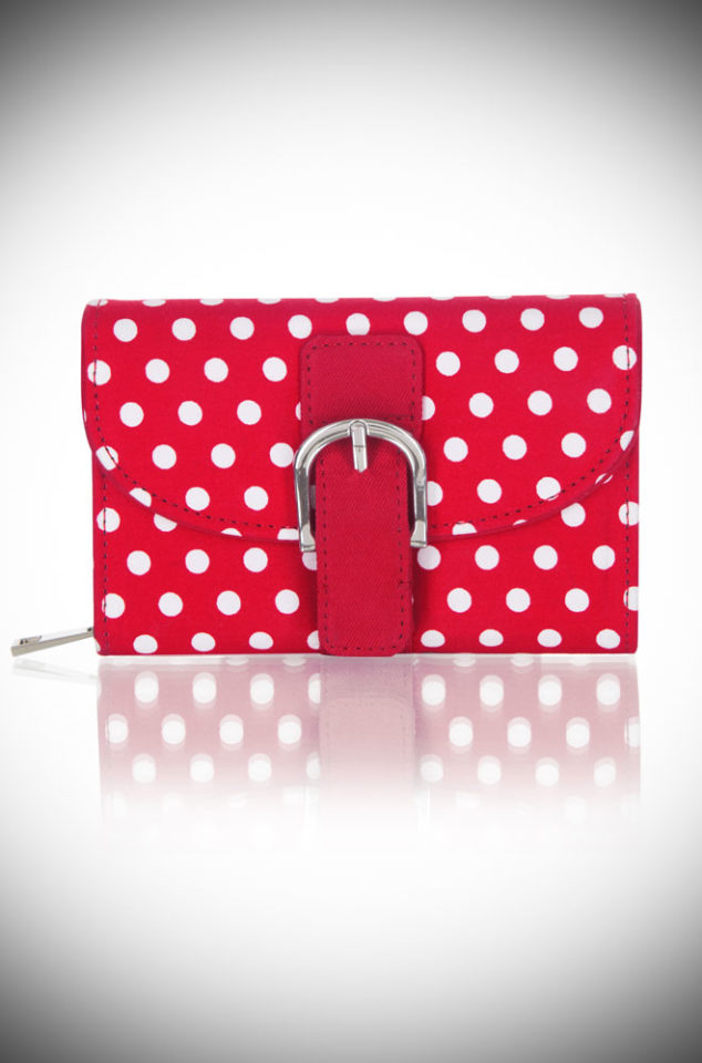 The Red Spots Garda Purse is a polka dotted, vintage inspired purse. Thischeerful wallet is sure to make you smile! Available now at DeadlyistheFemale.com