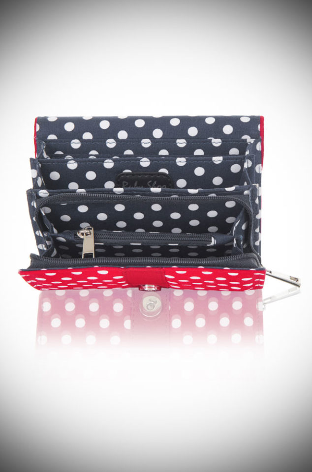The Red Spots Garda Purse is a polka dotted, vintage inspired purse. This cheerful wallet is sure to make you smile! Available now at DeadlyistheFemale.com