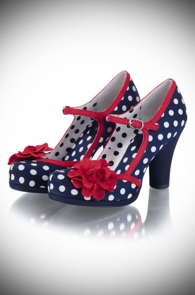 The Hannah Polka Dot Shoes are striking navy and white, medium height heels. They feature contrasting red corsage details and a darling ankle strap. Available now at DeadlyistheFemale.com