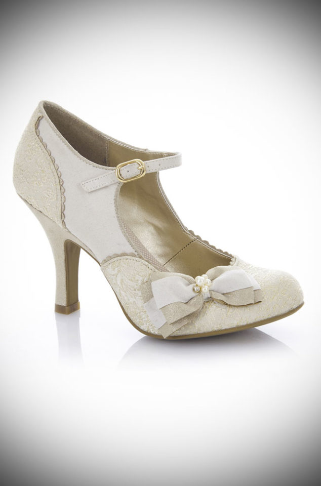 The Maria shoes are a medium height closed court shoe with ankle bar strap in cream and gold. They are simply perfect for weddings and summer parties! By Ruby Shoo at Deadly is the Female.