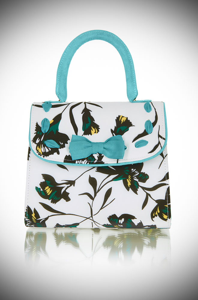 Introducing the Aqua Santiago bag. A chic floral handbag with aqua trim and lots of vintage inspired charm! Available now at DeadlyistheFemale.com
