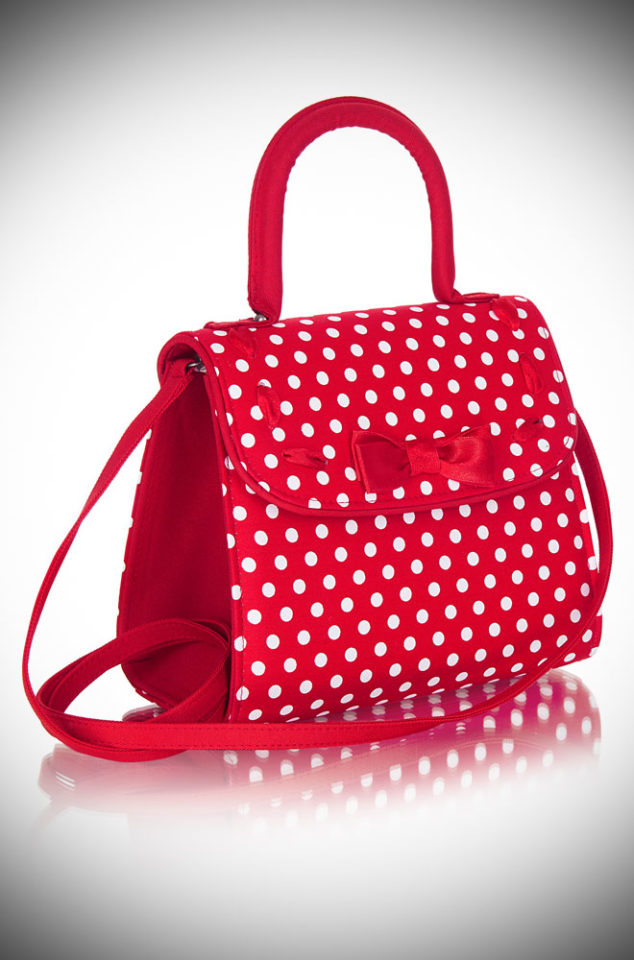 Introducing the Santiago bag. A red and white polka dot handbag with lots of vintage inspired charm! Available now at DeadlyistheFemale.com