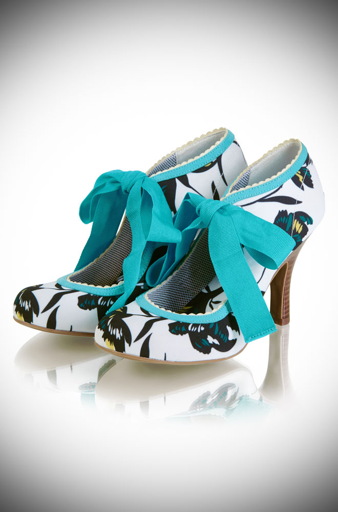 The Willow Floral Shoes are an elegant hi-cut court shoe with statement ribbon ankle ties. They are simply perfect for sunny days and balmy evenings! By Ruby Shoo at Deadly is the Female.