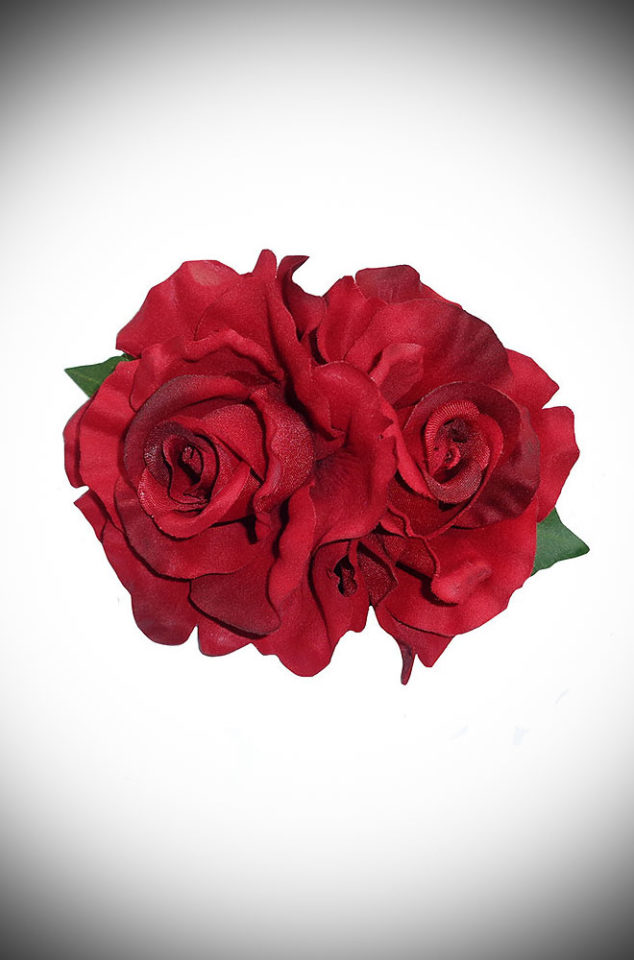 Add some instant glamour to your look with this Red Rose Hair Flower. A classic double red rose mounted on a hair clip. Perfect for pinups & vintage lovers.