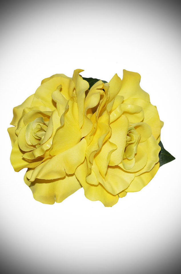 Add some instant glamour to your look with this Yellow Rose Hair Flower. A classic double yellow rose mounted on a hair clip. Perfect for pinups & vintage lovers.