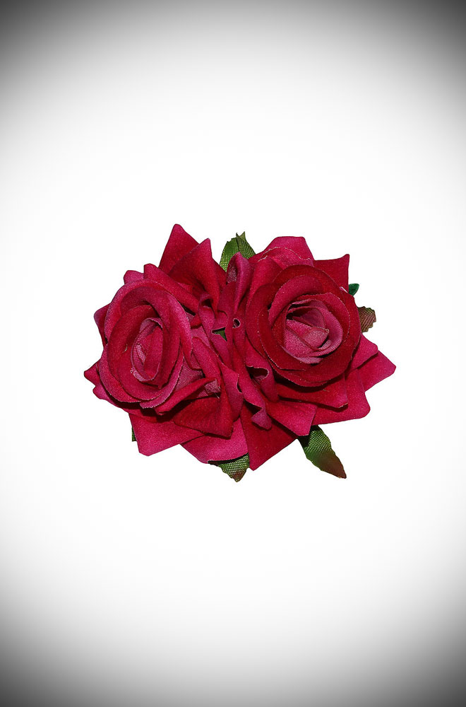Add some instant glamour to your look with this small double Pink Rose Hair Flower. A pair of classic red roses mounted on a hair clip. Perfect for pinups & vintage lovers.