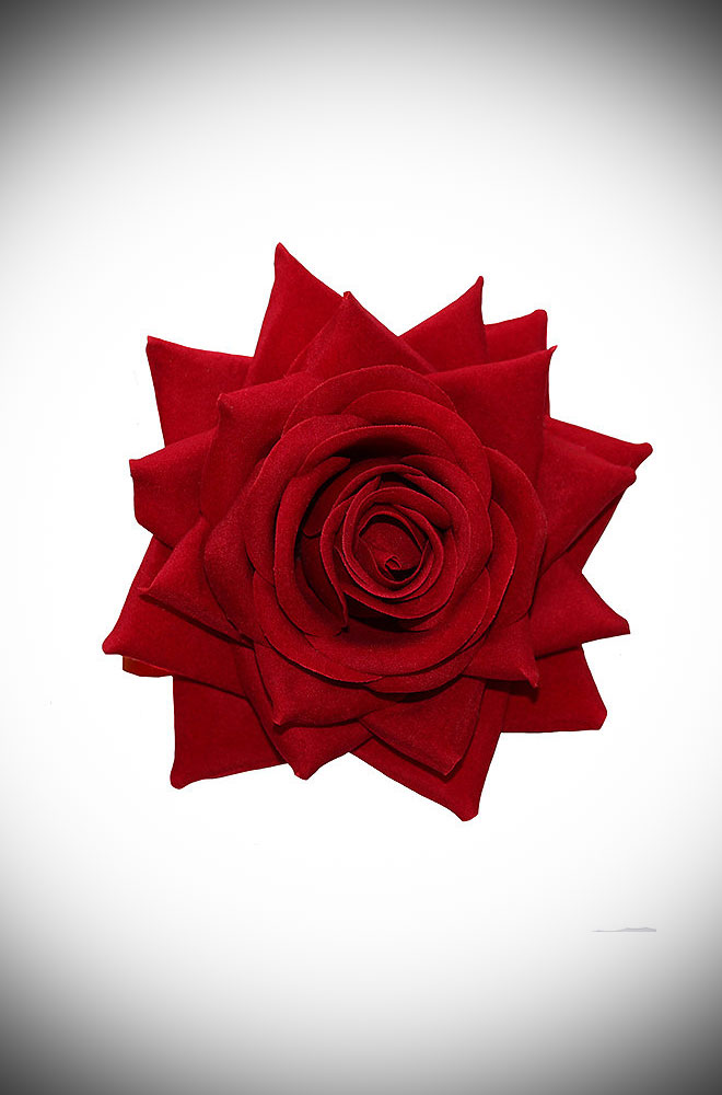 Add some instant glamour to your look with this large red rose hair flower. An oversized but classic red rose mounted on a hair clip. Perfect for bad girls, pinups & vintage lovers.