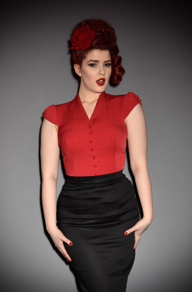 The Red Isidora Blouse is a sweet and effortless blouse with a scallop collar. www.DeadlyistheFemale.com are proud UK stockists of Miss Candyfloss.
