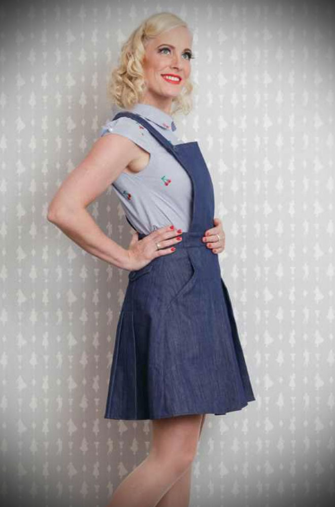The Valery-Lee Denim Overall shorts are super sweet! These pleated shorts have a dungaree bib for a fun & casual vintage style. They are the perfect way to add some effortless retro style to your every day look! Available at Miss Candyfloss at UK stockists, Deadly is the Female.