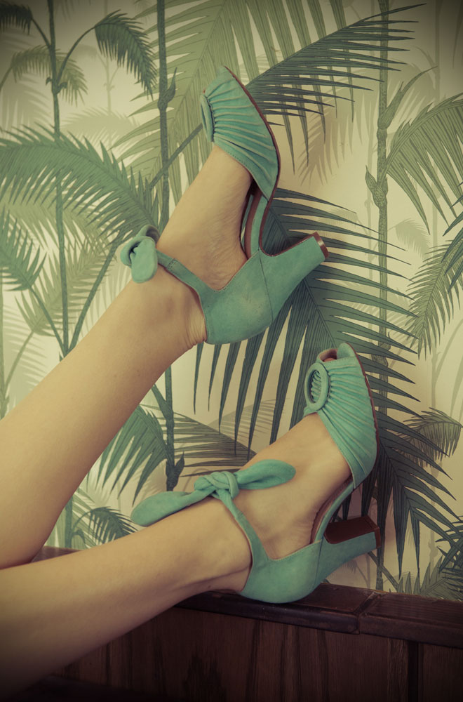 The blue Miss L Fire Loretta shoes are beautiful vintage inspired heels. Made in stunning sky blue suede these fantastic 1940's shoes have a charming feel. Available at Deadly is the Female - the perfect way to complete your pinup outfit.