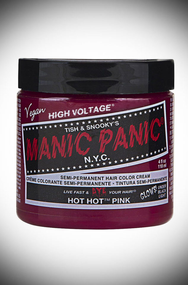 Hot Hot Pink Manic Panic Semi Permanent Hair Colour is a deliciously bright shade of magenta. Deadly is the Female are UK Stockists of Manic Panic Hair Colour.