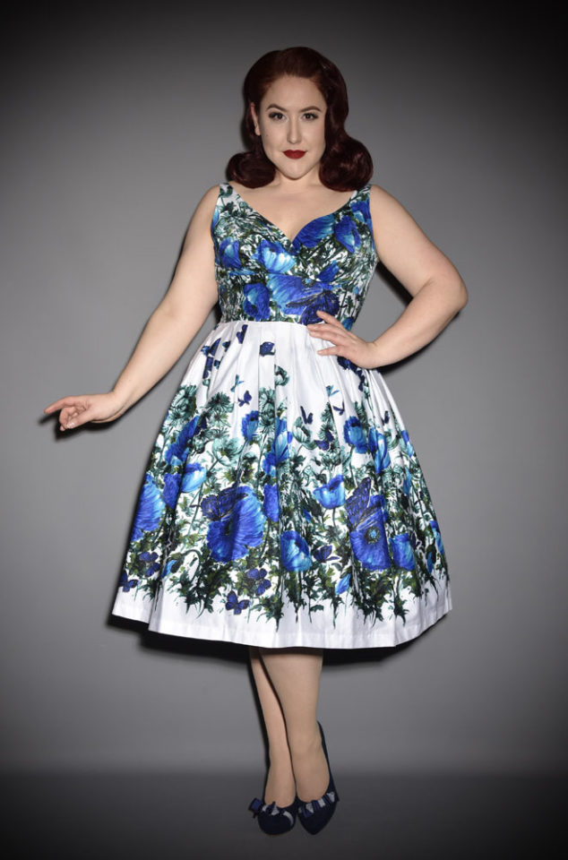 The Elizabeth 50s inspired swing dress by Retrospec'd at UK stockists, Deadly is the Female. This 1950s style swing dress is a timeless classic. The rich blue floral and butterfly print on a white background take this pretty cotton dress to the next level.