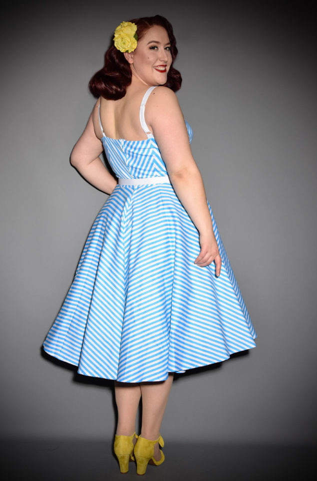 The Blue Dollface Dress could well be the ultimate swing dress! Inspired byan iconic Barbie swimsuit, this chevron striped dress is what dreams are made of. Deadly is the Female are proud, official UK stockists of Vixen by Micheline Pitt.