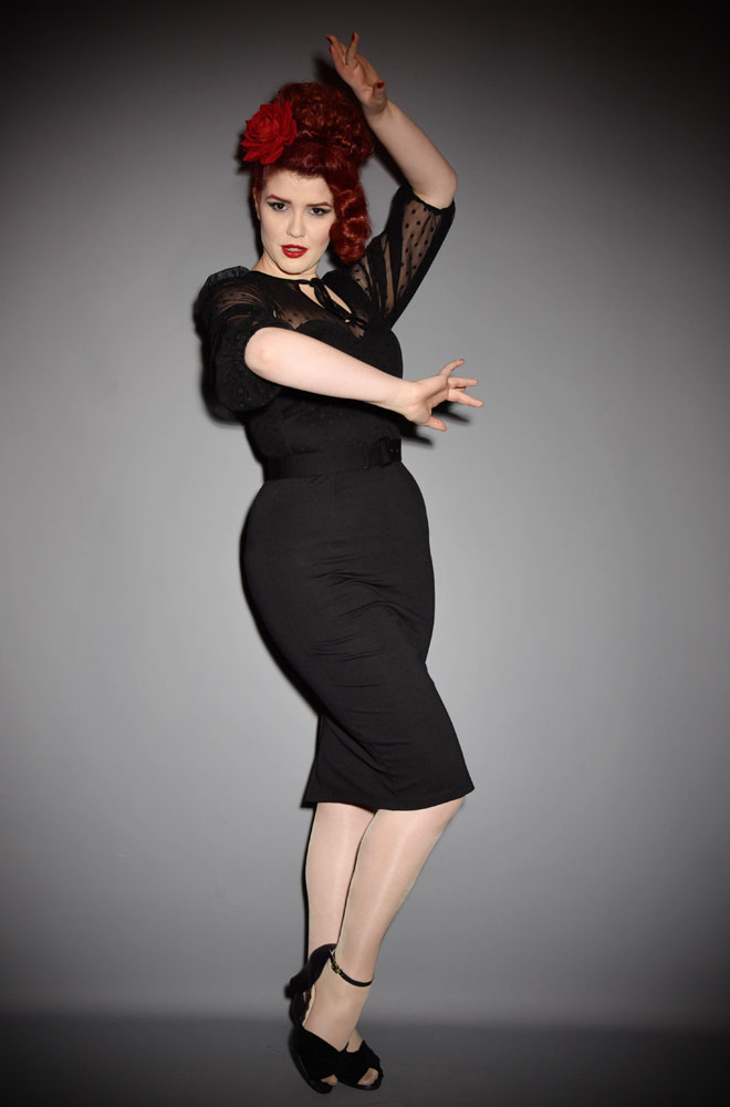TheFrenchie Wiggle Dress is a classic LBD. It has beautiful 1930's style bishop sleeves, paired with a tie neck detailing & fused strapless bodice. Inspired by vintage designs & details, this dress will quickly become your go to style. Deadly is the Female are official UK stockists of Vixen by Micheline Pitt.